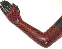 Fishnet Gloves Latex Long Gauntlets