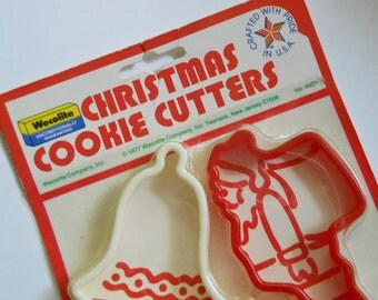 Christmas Cookie Cutters - Vintage Christmas Cookie Cutters -  1970s Holiday Baking - NOS - Wecolite Company