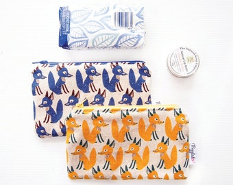 Mini Wet Bag / Coin Purse / Makeup Bag with Waterproof Lining - Foxes (Blue or Yellow)