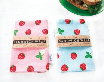 Sandwich Wrap with Waterproof Nylon Lining - Strawberry (Pink or Blue)