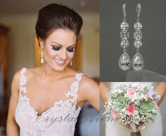 Crystal Bridal Earrings, Crystal Wedding earrings, Long earrings, Wedding Jewelry, Rose Gold, Bridal Jewelry, Julienne Crystal Earrings
