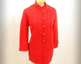 Boho Jacket * Red Toggle Sweater Coat *Toggle Jacket * Butte Knit Coat * Flared Sleeve Coat * Mod Jacket * Lipstick Red Jacket