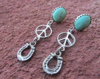 Kingman Turquoise Sterling Western Cowgirl Horseshoe Peace Earrings