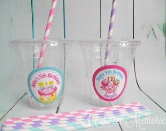 Set of 24- Shopkins Party Cups, Lids & Straws