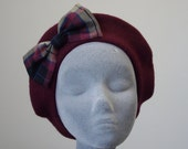 Red Hat- Wine Red Beret Hat with Burgundy-Beige Tartan Bow