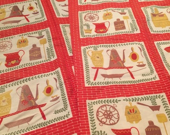 Vintage Cafe Curtains Kitschy Red Kitchen Mid-Century 1950s