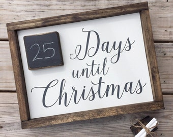 Days until Christmas | Christmas countdown sign with mini chalkboard.