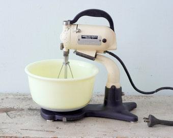 Beautiful Custard Yellow Hamilton Beach Stand Mixer and Original Yellow Milk Glass Mixing Bowl - Model C - 1946
