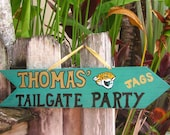 CUSTOM SIGN IDEA Jacksonville Jaguars-Tailgate Party Custom Directional Arrow-Wooden Football Tailgate Party Sign