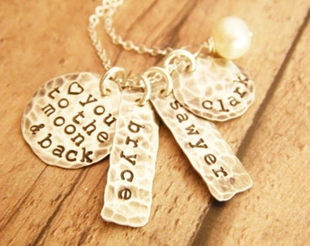 Love You to the Moon and Back Stamped Sterling Silver Distressed Tag and Disc, Mother Necklace with Three Names