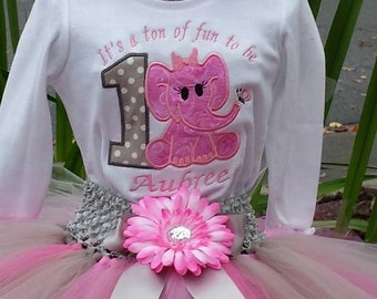 First Birthday Elephant  Tutu Set: It's a ton of fun to be one, 3 piece outfit Embroidered Shirt, tutu, headband