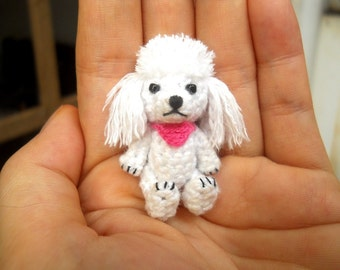 Mini White Poodle - Crochet Miniature Dog Stuffed Animals - Made To Order