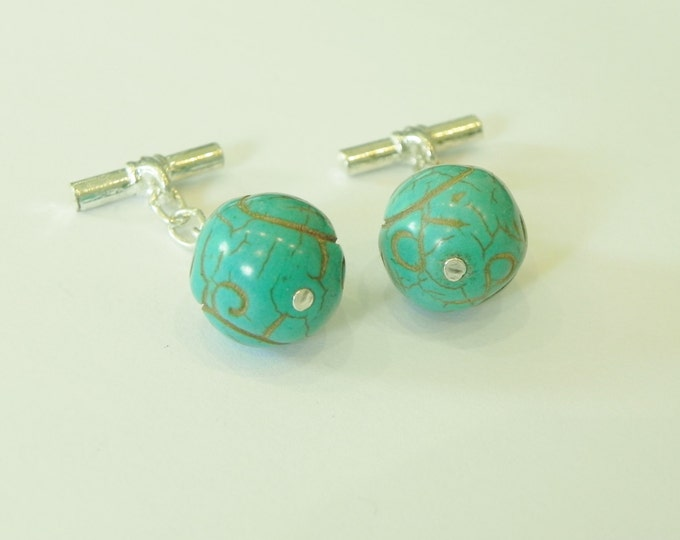 Handmade carved turquoise round gemstone silver plated chain link cufflinks|December birthstone|turquoise cufflink|gemstone cufflink