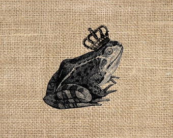 Frog Prince 300 dpi Digital Image Download Transfer For T Shirts Totes Napkins 149