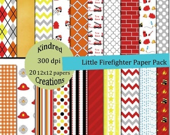 Little Firefighter Paper Pack 12x12 Digital Paper Pack 300 dpi Printable small business use
