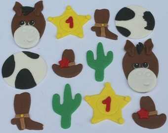 12 fondant cupcake toppers--cowboy, wild west