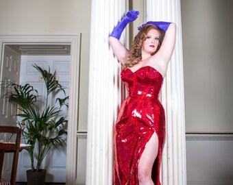 Jessica Rabbit Red Sequin evening dress