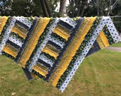 Baby Rag Quilt in Yellows Greys and Blues