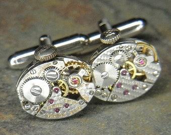 Watch Cuff Links Cufflinks - Torch Soldered - Steampunk Silver Oval  Movements w HAMMERED Texture & Original Crowns- Rare Design