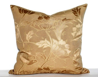 Gold Pillow Cover Floral Upholstery Fabric Throw Pillow Cover Decorative Pillow Euro Sham 26x26 24x24 22x22 20x20 18x18 16x16
