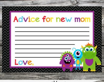 12 Printed Advice Cards -Made 2 Match Any Theme In Our Shop -Monster -1st Birthday -Baby Shower