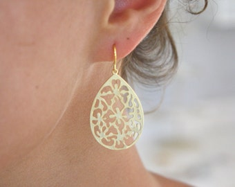Gold Earrings 16k Gold Plated Floral Tear drop Earrings, Bohemian Jewelry, Boho Chic, Best Friend Gifts, Gifts for Her, Girlfriend Gifts