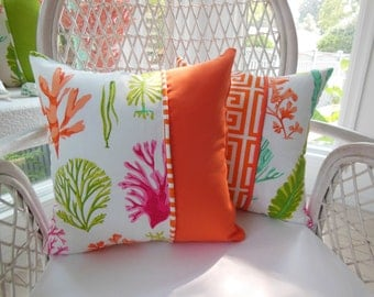 Orange Coral Pillow - Coral Sea Life Pillow - Orange Greek Key Pillow - Orange, Lime Green, Hot Pink, Patina Green - Reversible Pillow
