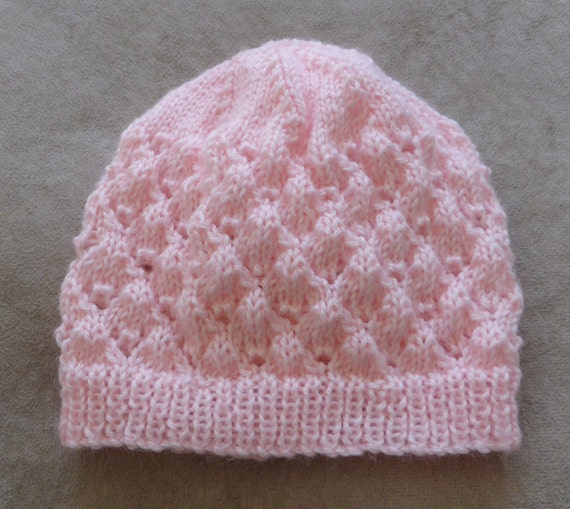 Knitting Pattern Baby Beanie : Babies 4ply lace Beanie PDF knitting pattern Molly