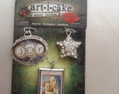 articake Amy Labbe Set of 3 Holiday Pendants / Charms Joy, Star, Stamp
