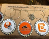 Set of 6 Clemson  inspired wine glass charms for the wine lover in your life.... Including an awesome silver tiger charm