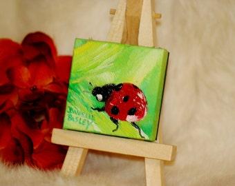 Miniature Lady Bug Portrait - Oil Painting Magnet