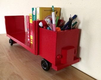 Red Truck Wall And Desk Bookcase Book Stand Organizer