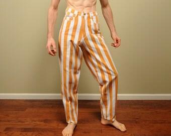 vintage 90s Cross Colours jeans orange white stripe hip hop street style 1990s Dig It Academic Hardwear