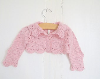 French Vintage baby girl pink bolo jacket sweater