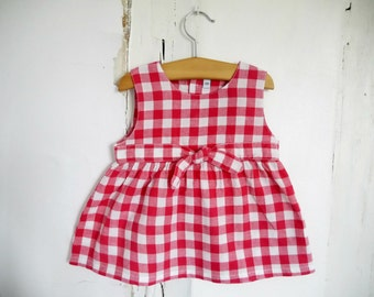 French antique baby girl red gingham summer dress