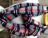 Infinity / Loop Scarf - Gray, Black, Red and White Plaid Flannel Scarf