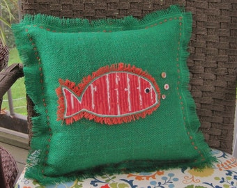 Tropical Fish Pillow Burlap Pillow Nautical Pillow Red Fish on Green Burlap Pillow // Nautical Decor // Nautical Home Decor