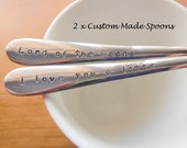2 x Custom Order Spoons Your Choice Of Words
