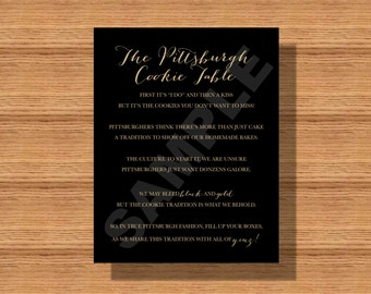 Pittsburgh Wedding Cookie Table Sign, Pittsburgh Wedding Cookie Table Favor Sign, A Pittsburgh Wedding Tradition