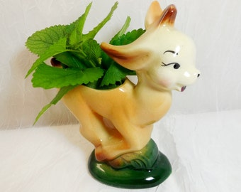 Running Deer or Goat - Planter - Vintage Pottery Figural Animal