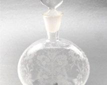 Vintage Fancy Etch Decorative Perfume Bottle Refillable Decanter Stopper Floral Dauber Vetri Murano MM 003 Glass Venetian Art Nouveau Empty