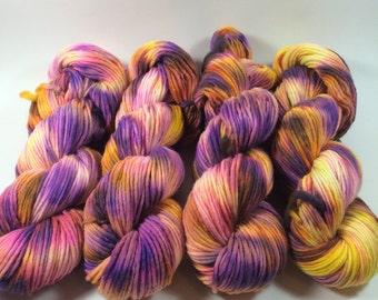 Worsted Single, Hand Dyed Yarn, Rainbow Rocket , Merino, worsted weight, single ply, singles, merino wool, variegated yarn