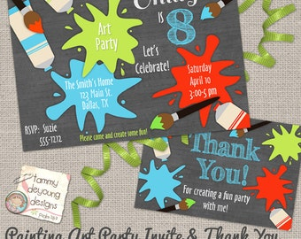 Art Party Invitation *Painting Party Invitation* Custom Digital Invites and thank you note, Chalkboard Birthday, personalized, you print