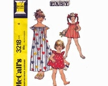 Little Girls Boho Chic Dress or Top and Panties Girls Size 6 Sewing Pattern 1970s McCalls 3218 Make it Easy Pattern