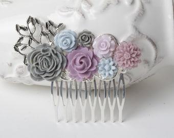 Bridal Hair comb grey, blue plum purple hair comb, wedding hair comb, wedding hair accessories, vintage wedding, woodland wedding