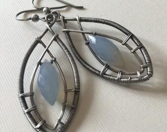 Chalcedony wire-wrapped earrings - silver dangle earrings