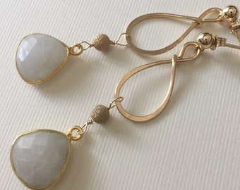 Gold-filled hammered earring with beautiful bezel set moonstone beads and stardust beads- wire wrapped dangle earrings
