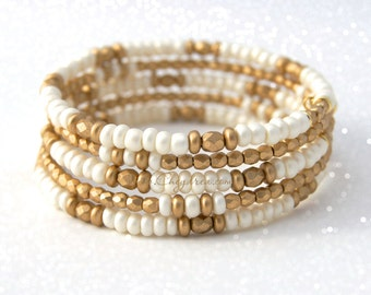 VALENTINE GIFT Fiancé, Valentine Gift for Girlfriend, Valentine Gift for Wife, White and Gold Bracelet, White and Gold Bangle Wrap