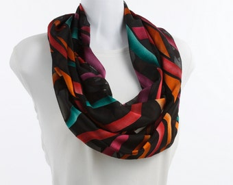 BOLD Burnout Infinity Scarf - Shapes of Teal, Tangerine, Coral, Plum and Rose on a SHEER Black Background ~ SH241-L1