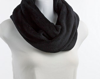 Double Loop Jet Black Ultra Cuddle Fleece High Quality Infinity Scarf by neckStyles ~ PF015-L1